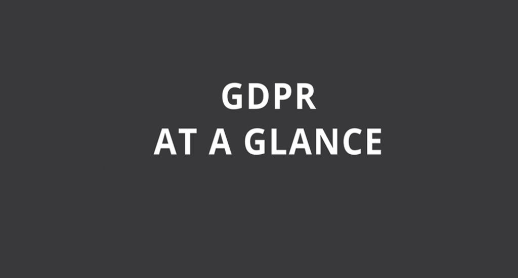 Image with the text: GDPR at a glance