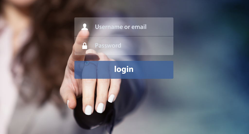 Woman using login interface on touch screen
